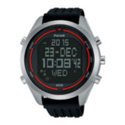 Pulsar® On the Go Mens Black Silicone Strap World Time Chronograph Sport Watch PQ2045