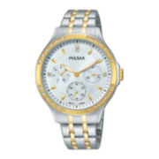 Pulsar® Night Out Womens Crystal-Accent Two-Tone Stainless Steel Bracelet Watch PP6192
