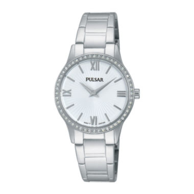jcpenney.com | Pulsar® Easy Style Womens Crystal-Accent Stainless Steel Bracelet Watch PM2171