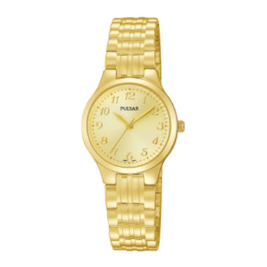 jcpenney.com | Pulsar® Traditional Womens Gold-Tone Stainless Steel Expansion Bracelet Watch PG2034