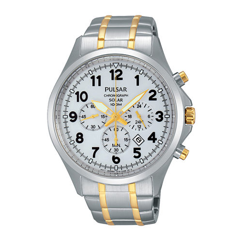 Pulsar® Business Mens Two-Tone Stainless Steel Solar Chronograph Sport Watch PX5041