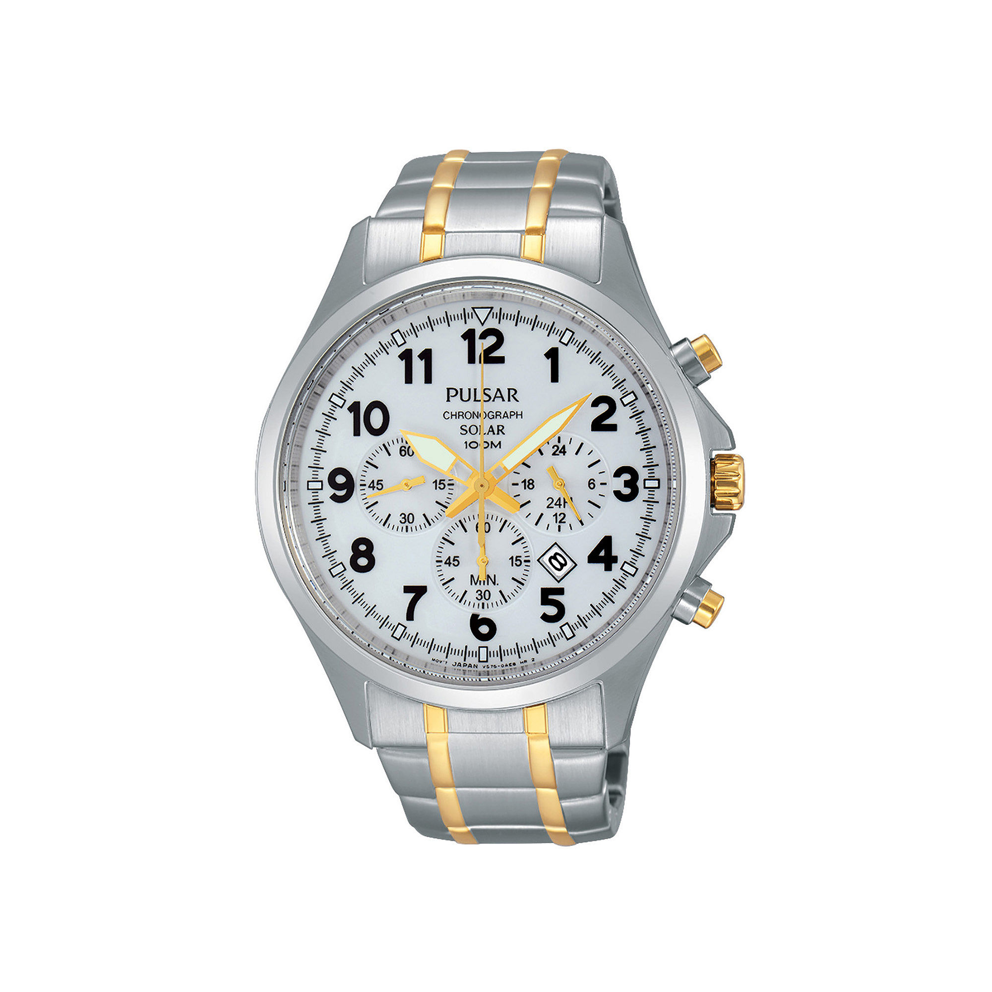 Pulsar Business Mens Two-Tone Stainless Steel Solar Chronograph Sport Watch PX5041