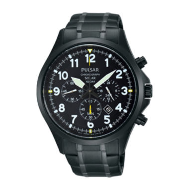 jcpenney.com | Pulsar® Business Mens Black Stainless Steel Solar Chronograph Sport Watch PX5039