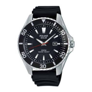 jcpenney.com | Pulsar® On the Go Mens Black Silicone Strap Solar Watch PX3037