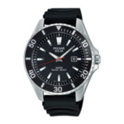 Pulsar® On the Go Mens Black Silicone Strap Solar Watch PX3037