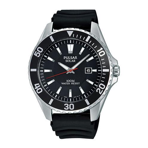 Pulsar® On the Go Mens Black Silicone Strap Solar Watch PX3037