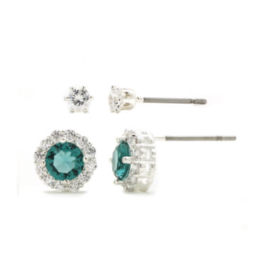 jcpenney.com | Sparkle Allure™ 2-pr. Green and White Cubic Zirconia Stud Earrings