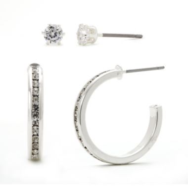 jcpenney.com | Sparkle Allure™ Crystal Silver-Plated Brass Hoop and Stud Earring Set