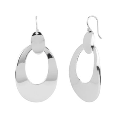 jcpenney.com | Pure Silver-Plated Oval Drop-Down Hoop Earrings