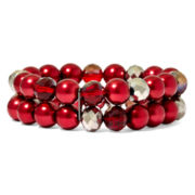 Vieste® Simulated Red Pearl Stretch Bracelet