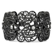 Decree® Crystal-Accented Filigree Metal Stretch Bracelet