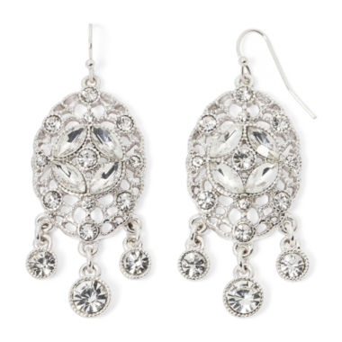 jcpenney.com | Liz Claiborne® Crystal-Accent Silver-Tone Chandelier Earrings