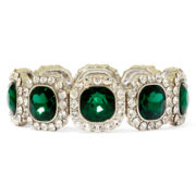 Monet® Green and Clear Crystal Stretch Bracelet
