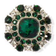 Monet® Green and Clear Crystal Stretch Ring