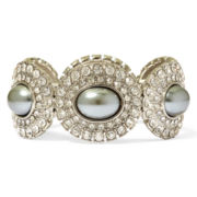 Monet® Simulated Pearl Silver-Tone Stretch Bracelet