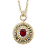 Monet® Red and Clear Crystal Pendant Necklace