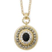 Monet® Black and Clear Crystal Pendant Necklace