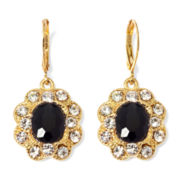 Monet® Black and Clear Crystal Drop Earrings