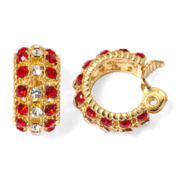 Monet® Red and Clear Crystal Clip-On Hoop Earrings
