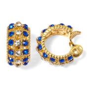 Monet® Blue and Clear Crystal Clip-On Hoop Earrings