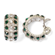 Monet® Green and Clear Crystal Clip-On Hoop Earrings