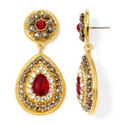 Monet® Red and Clear Crystal Double-Drop Earrings