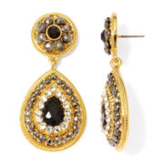 Monet® Black and Clear Crystal Double-Drop Earrings