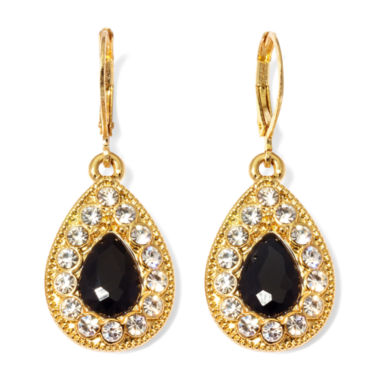jcpenney.com | Monet® Black and Clear Crystal Drop Earrings