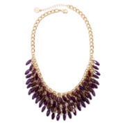 Liz Claiborne® Purple Stone Gold-Tone Shaky Shower Necklace