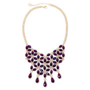 Liz Claiborne® Purple Stone Gold-Tone Flower Bib Necklace