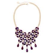 Liz Claiborne® Purple Stone Gold-Tone Flower Bib Necklace