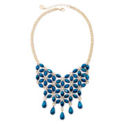 Liz Claiborne® Blue Stone Gold-Tone Flower Bib Necklace