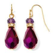 Liz Claiborne® Purple Stone Gold-Tone Double-Drop Earrings