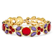 Liz Claiborne® Red and Purple Stone Gold-Tone Stretch Bracelet