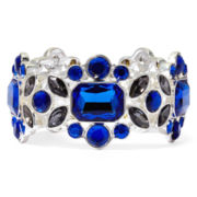 Liz Claiborne® Blue and Black Stone Silver-Tone Stretch Bracelet