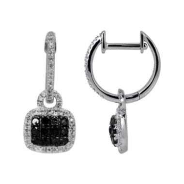 jcpenney.com | LIMITED QUANTITIES 3/8 CT. T.W. White & Color-Enhanced Black Diamond Square Drop Earrings