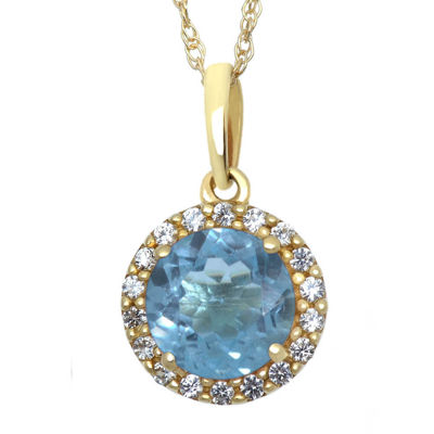 Lab-Created Blue and White Sapphire Halo Pendant Necklace