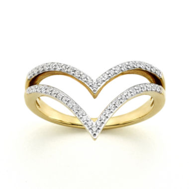jcpenney.com | 1/4 CT. T.W. Diamond 10K Yellow Gold Two-Row Chevron Ring