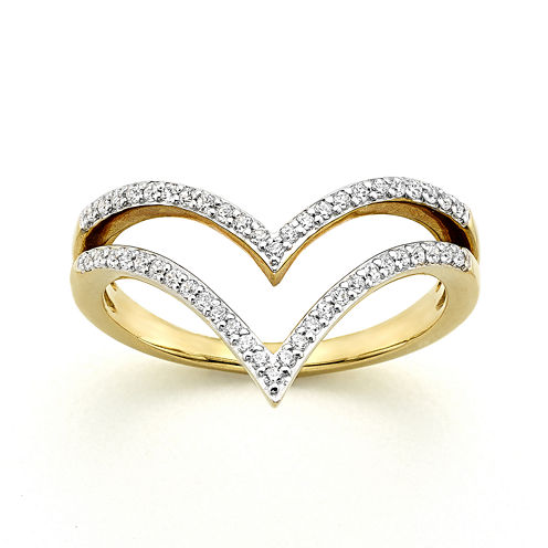 1/4 CT. T.W. Diamond 10K Yellow Gold Two-Row Chevron Ring