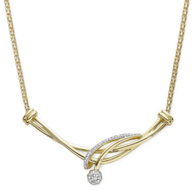 jcpenney.com | diamond blossom 1/10 CT. T.W. Diamond 10K Yellow Gold Swirl Necklace
