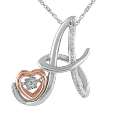 "jcpenney.com | Love in Motion™ Diamond-Accent Rose Gold & Sterling Silver ""A"" Pendant Necklace"