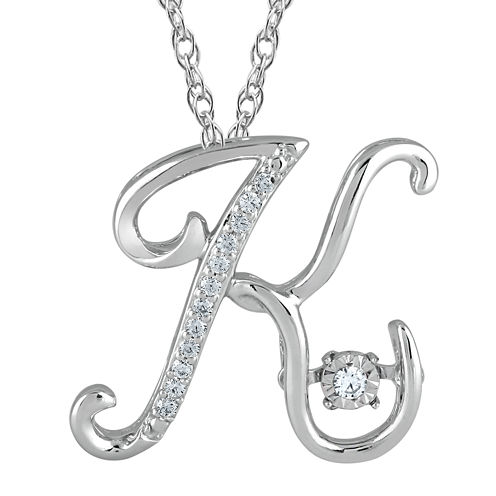 """Love in Motion™ Diamond-Accent  Sterling Silver """"K"""" Pendant Necklace"""
