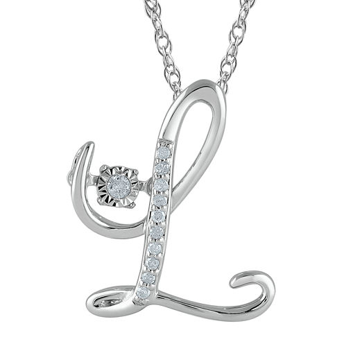 """Love in Motion™ Diamond-Accent  Sterling Silver """"L"""" Pendant Necklace"""