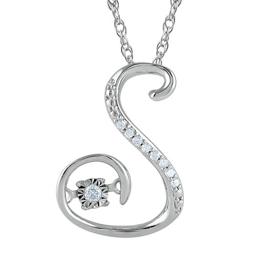 """Love in Motion™ Diamond-Accent Sterling Silver """"S"""" Pendant Necklace"""