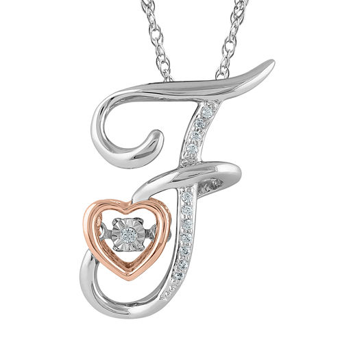 "Love in Motion™ Diamond-Accent Rose Gold & Sterling Silver ""F"" Pendant Necklace"