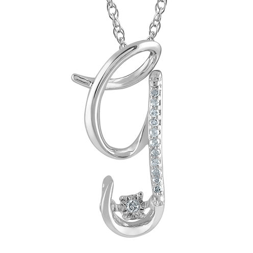 "Love in Motion™ Diamond-Accent Sterling Silver ""G"" Pendant Necklace"