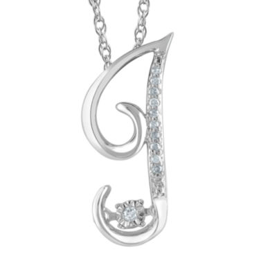 "jcpenney.com | Love in Motion™ Diamond-Accent Sterling Silver ""J"" Pendant Necklace"