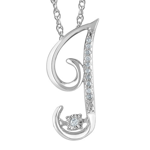 """Love in Motion™ Diamond-Accent Sterling Silver """"J"""" Pendant Necklace"""