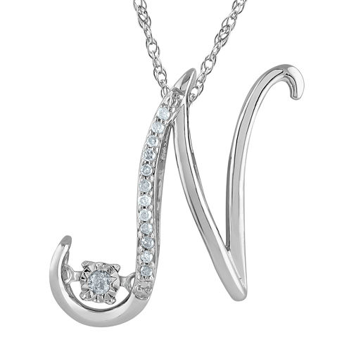 "Love in Motion™ Diamond-Accent Sterling Silver ""N"" Pendant Necklace"