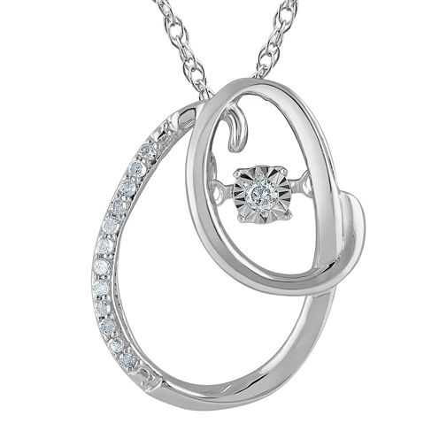 "Love in Motion™ Diamond-Accent Sterling Silver ""O"" Pendant Necklace"